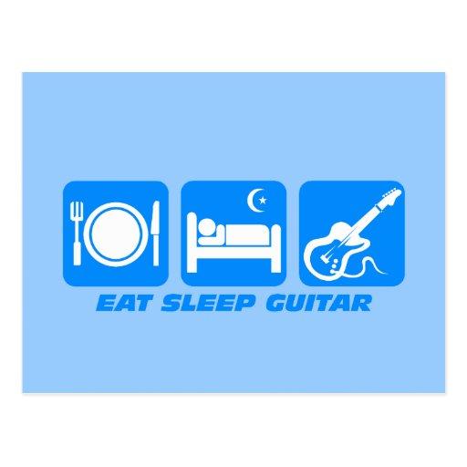 Funny eat sleep guitar postcard