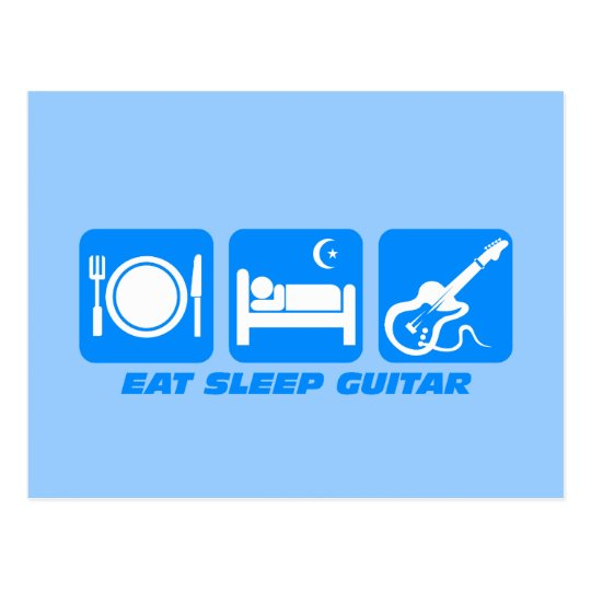 Funny eat sleep guitar postcard