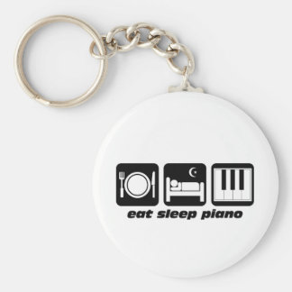 Funny eat sleep piano basic round button key ring
