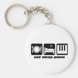 Funny eat sleep piano basic round button key ring