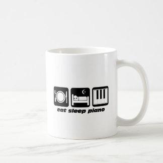Funny eat sleep piano basic white mug