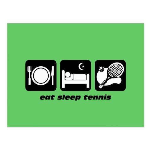 funny eat sleep tennis postcards