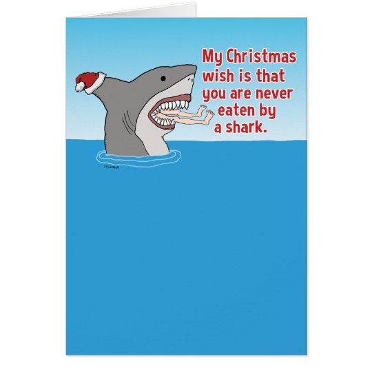 Funny Eaten By Shark Christmas Card