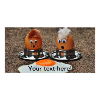 Funny eggs customised photo card