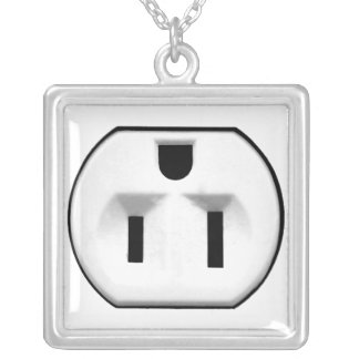 Funny Electrical Outlet Gift For Electricians Square Pendant Necklace