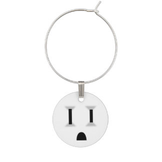 Funny Electrical Outlet (No Outline) Wine Charms