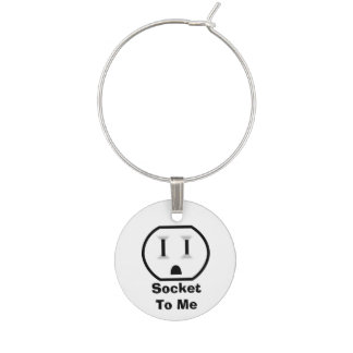 Funny Electrical Outlet Wine Glass Charm