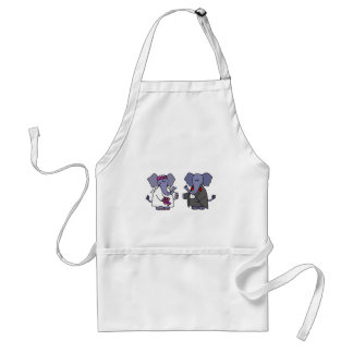 Funny Elephant Bride and Groom Wedding Design Standard Apron