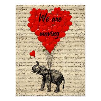 Funny elephant change of address card postcard
