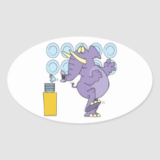 funny elephant in a china shop oval sticker