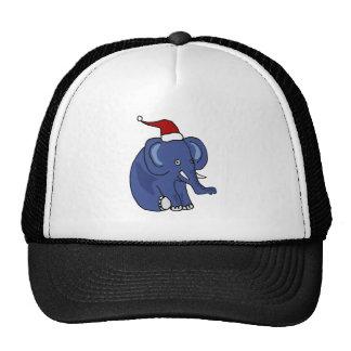 Funny Elephant in Santa Hat Christmas Art