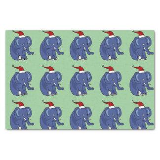Funny Elephant in Santa Hat Tissue Paper