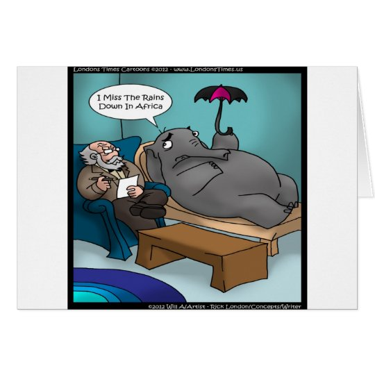 Funny Elephant In Therapy Cards Tees Gifts Etc