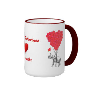 Funny elephant  love heart Valentines Ringer Mug