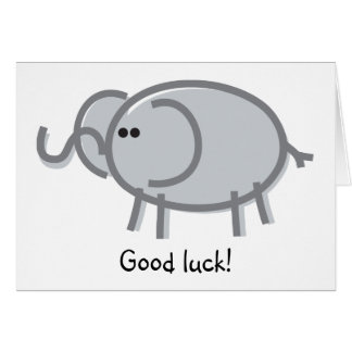Funny Elephant on White Card