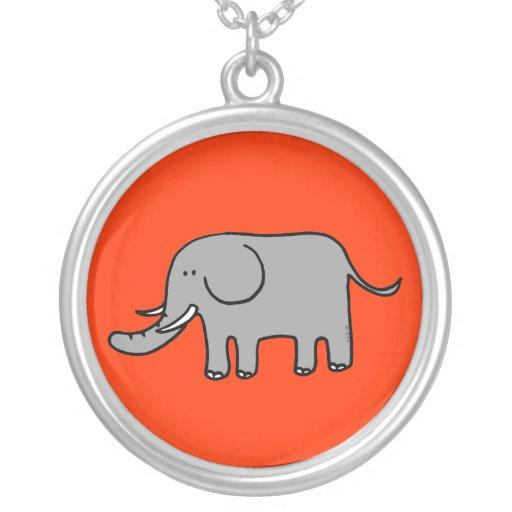 Funny elephant round pendant necklace