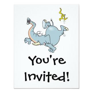 funny elephant slipping on banana peel custom invites