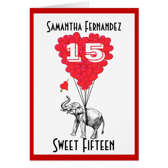 Funny elephant sweet Fifteen Card
