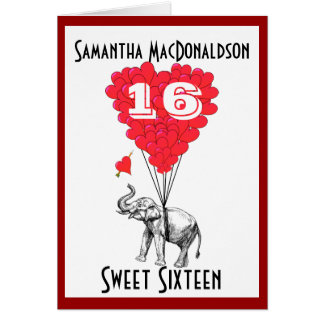 Funny elephant sweet sixteen cards