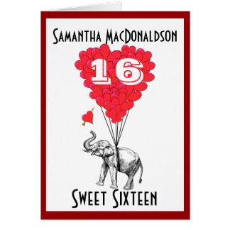 Funny elephant sweet sixteen card
