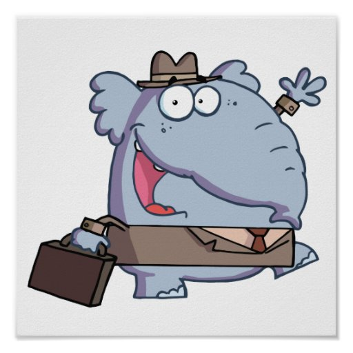 Funny-Elephant-with-briefcase Poster