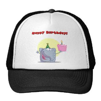 Funny Elephant With Cake Happy Birthday Mesh Hat