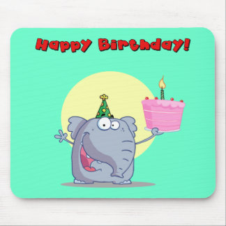 Funny Elephant With Cake Happy Birthday Mouse Pads