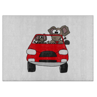 Funny Elephants in Red Car Cutting Board