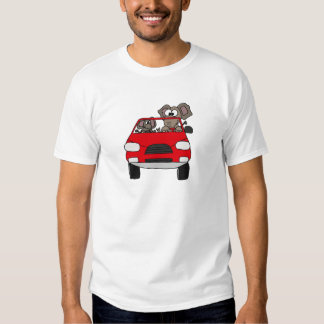 Funny Elephants in Red Car Tee Shirts