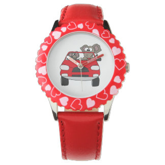 Funny Elephants in Red Car Watches