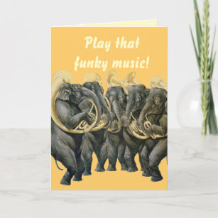 Funny Elephants Playing Music Birthday Card