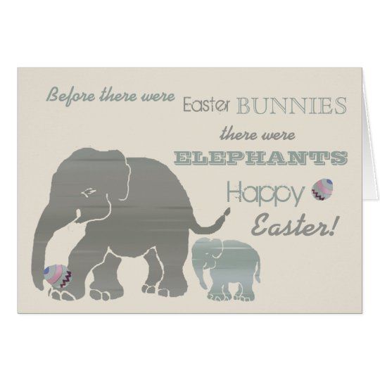Funny Elephants Typographic Slogan Vintage Card