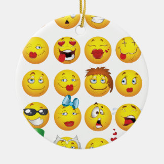 Funny Emoji Faces Cool Awesome Smiles Round Ceramic Decoration