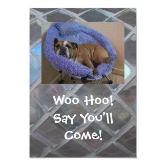 Funny English Bulldog Party Invitations, Birthday, 13 Cm X 18 Cm Invitation Card