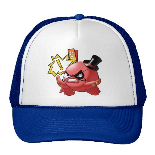 Funny Evil Octopus with Mustache and Top Hat