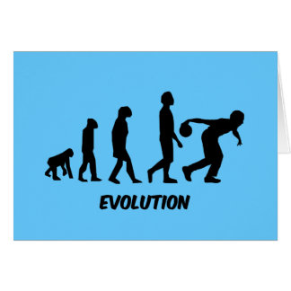 funny evolution bowling greeting cards