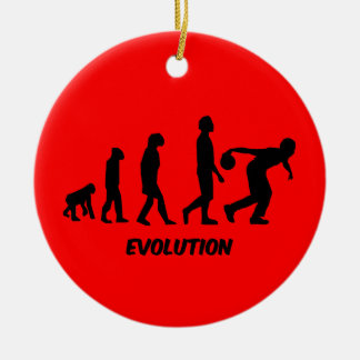 funny evolution bowling christmas ornament