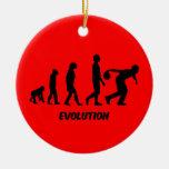 funny evolution bowling round ceramic decoration