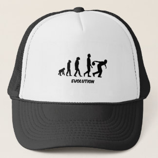 funny evolution bowling trucker hat