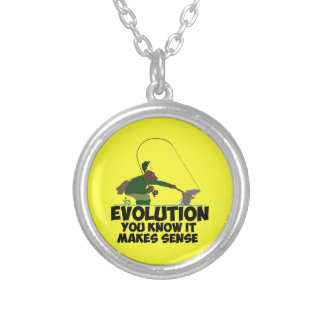 Funny evolution silver plated necklace