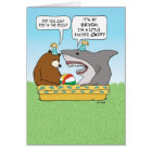 Funny Excited Shark Birthday Card