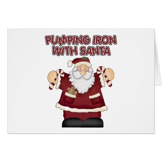 Funny Exercise Santa Claus Christmas Card