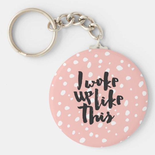 Funny expression coral white modern polka dots key