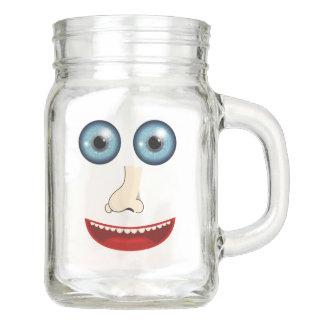 Funny face mason jar glass