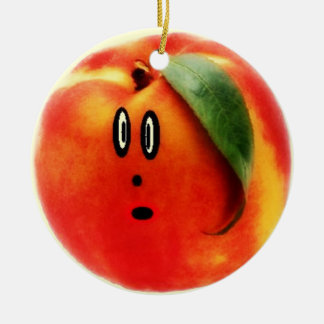 Funny Face Peach Christmas Ornament