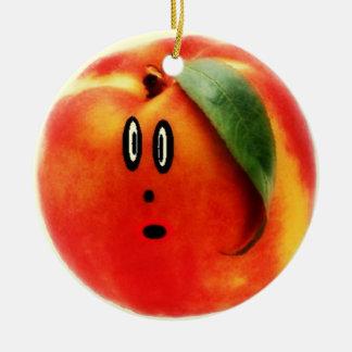 Funny Face Peach Round Ceramic Decoration