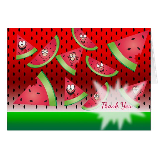 Funny Face Watermelon - Thank You Card