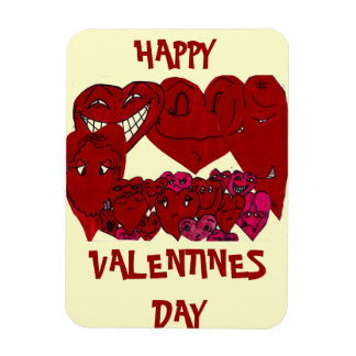 FUNNY FACED VALENTINE HEARTS magnet