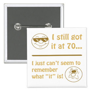 Funny Faces 70th Birthday Gag Gifts 15 Cm Square Badge