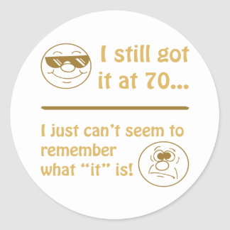 Funny Faces 70th Birthday Gag Gifts Round Sticker